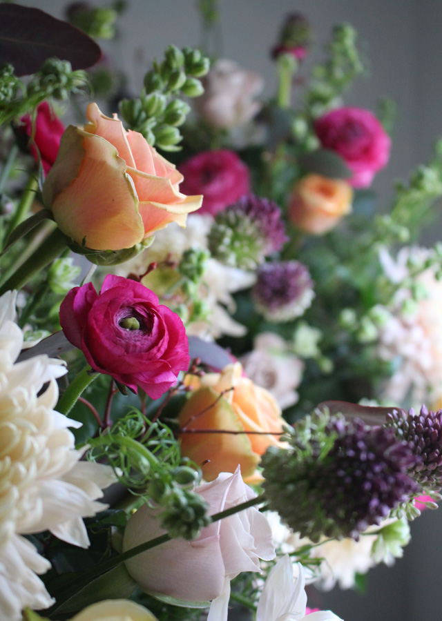 Roses, Chrysanthemum, Allium and Ranunculus